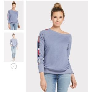 Sundry, Mosley Dusty Blue Embroidered Pullover